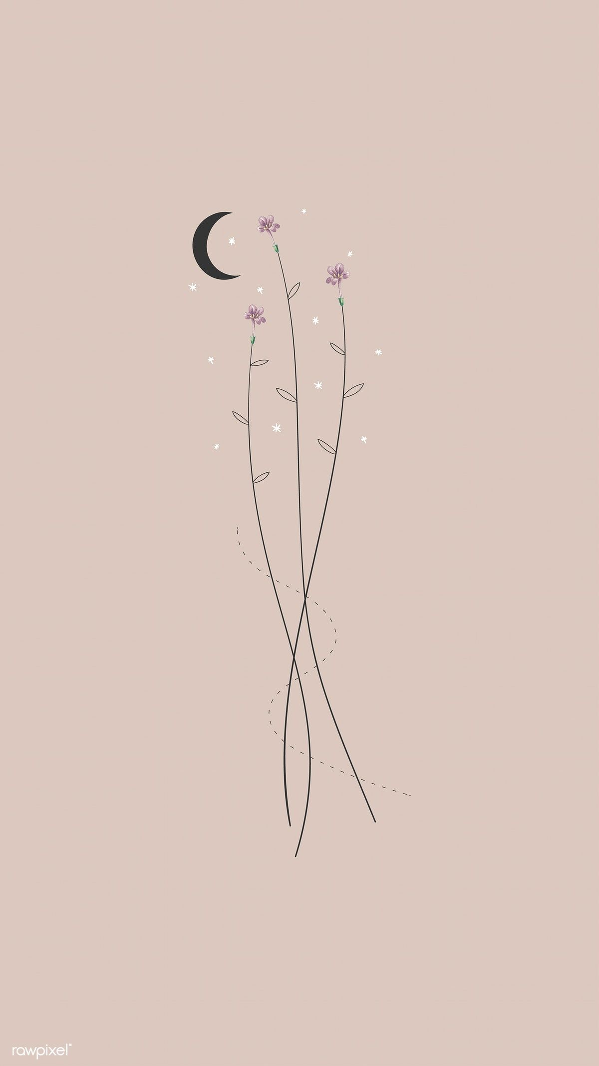 Flowers And The Moon Mobile Phone Wallpaper Vector Premium Image By Rawpixel Com Mar Wallpaper Iphone Boho Simple Iphone Wallpaper Iphone Wallpaper Hipster