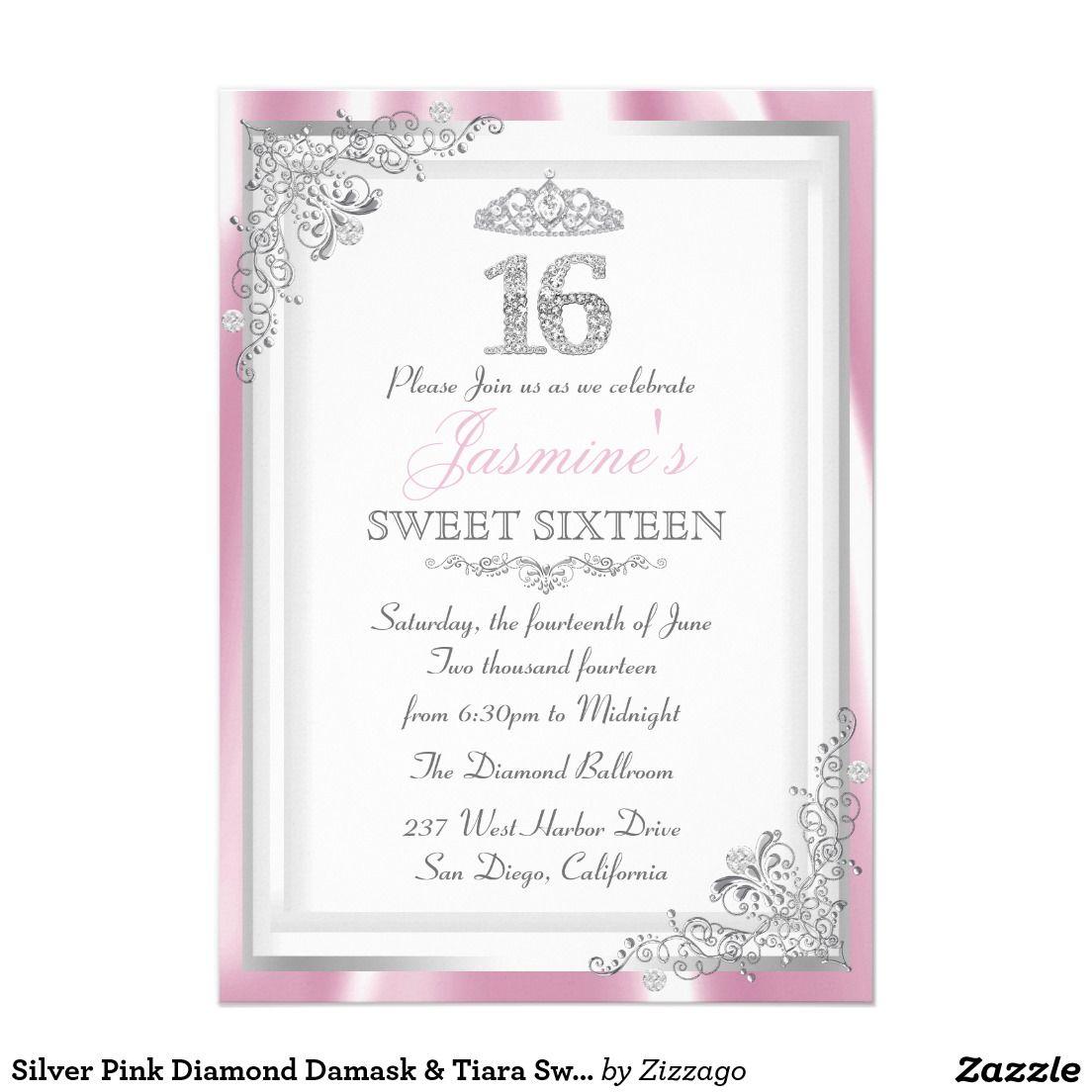 Silver Pink Diamond Damask & Tiara Sweet 16 Invite