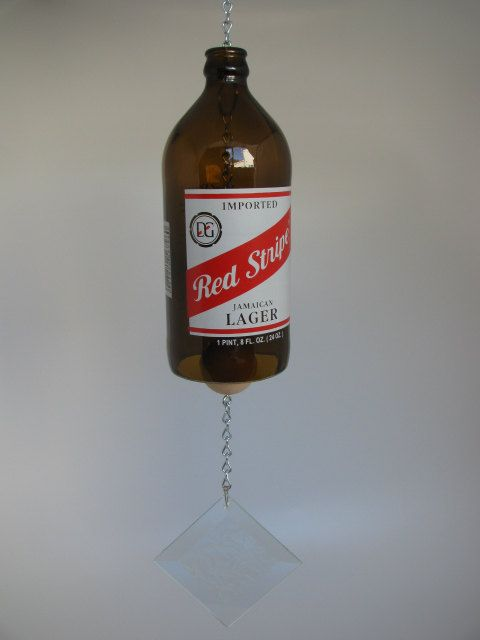 RED STRIPE BEER Bottle Windchime / Bar Bell by Thegecko on Etsy. Dong!