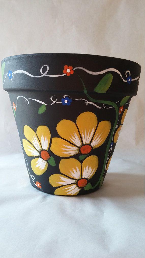 Clay Pot Hand Painted Pot Painted Flower Pot Yellow Flower Pot