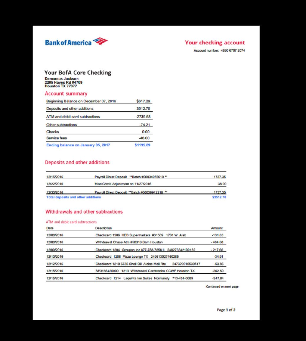 Create Fake Bank Statement Template Bank Statement Bank America In 2019 Credit Card Statement Bank Statement Statement Template