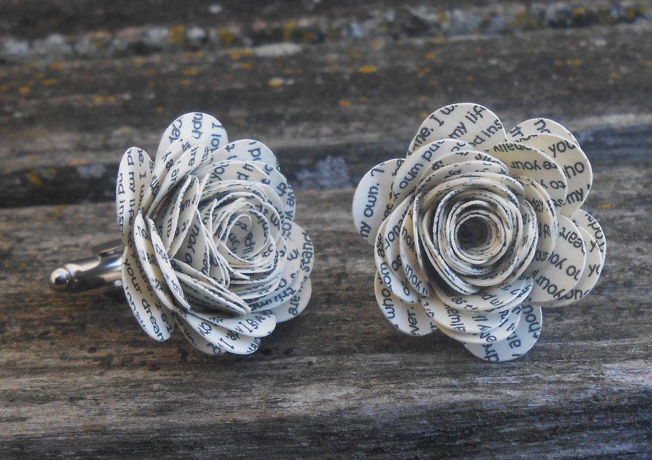 Wedding Vow Flower Cufflinks. Custom, Personalized. CHOOSE