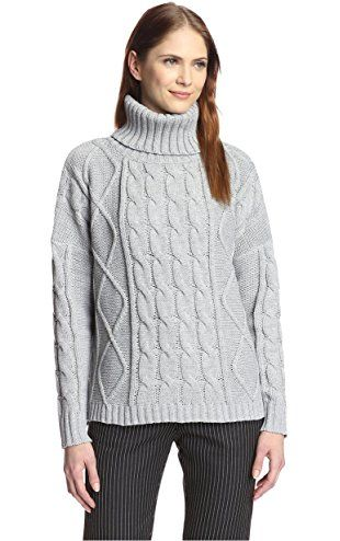 Six Crisp Days Women's Cable Turtleneck Sweater, Heather Grey, XS ...