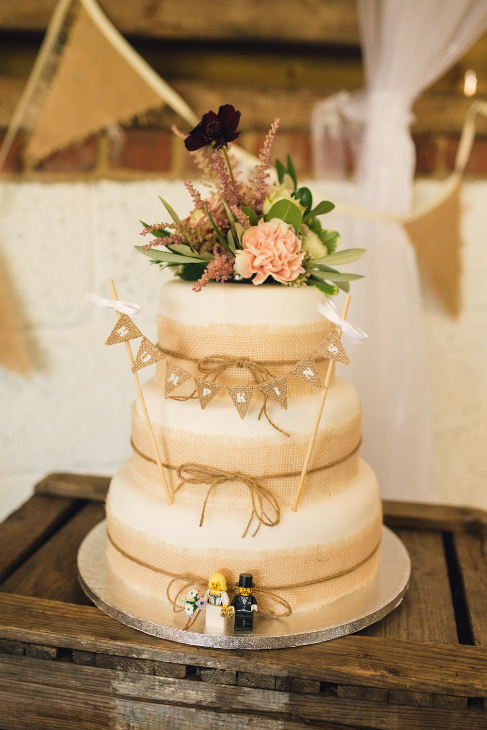 Homemade Wedding Cake with Hessian Ribbon Photography by