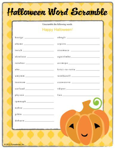 Free printable Halloween puzzle page - word search and word ...