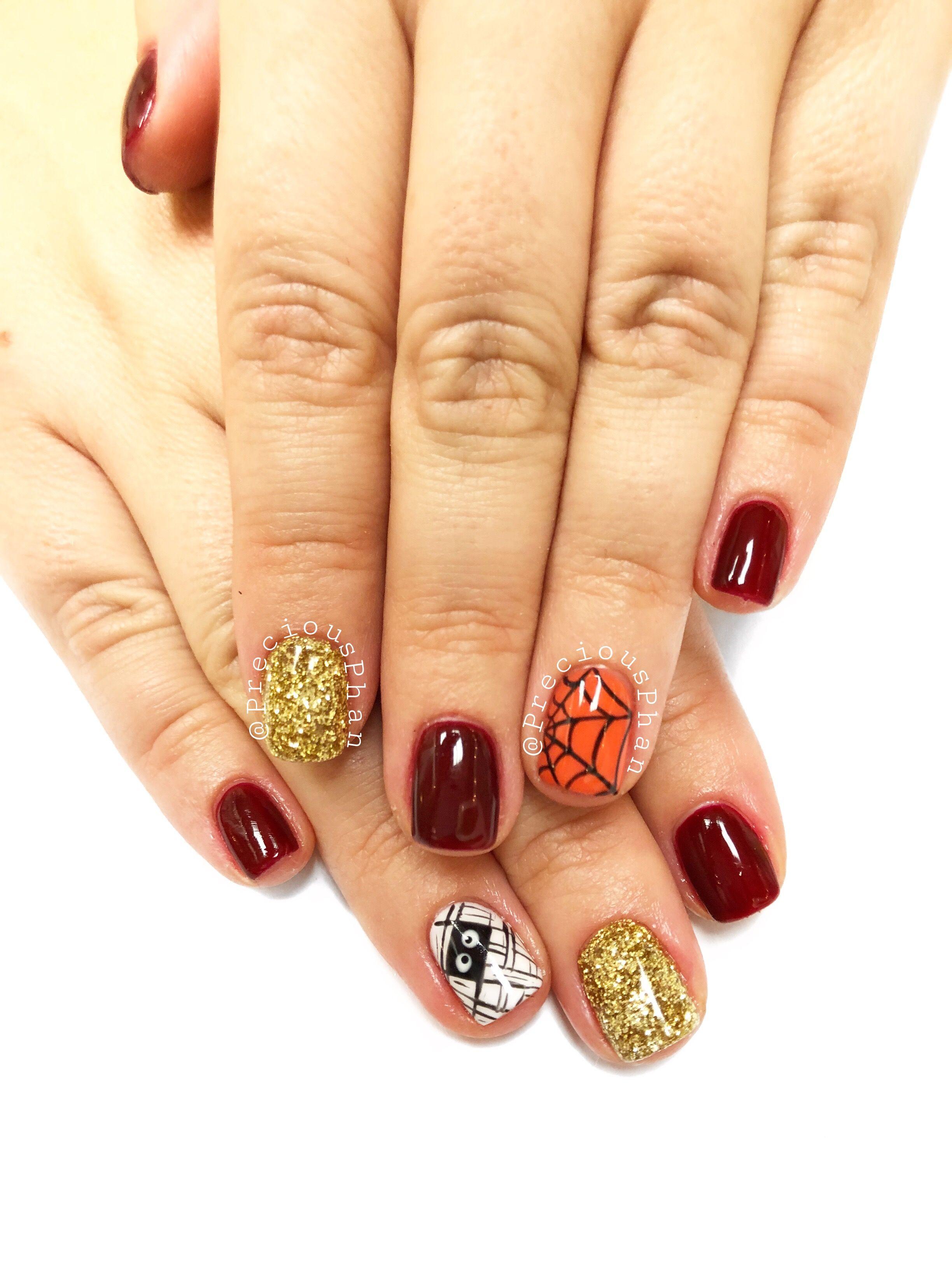 Fall and Halloween nails. Mummy nails. Spiderweb nails # ...