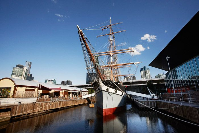 """Three-masted barque  """"Polly Woodside"""", Melbourne.  Launched in Belfast in 1885, the """"Polly Woodside"""" sailed 1.5 million kilometres around the globe. Located in the heart of Melbourne's South Wharf precinct she is a tangible reminder of Australia's rich maritime history and is one of Melbourne's most iconic attractions."""