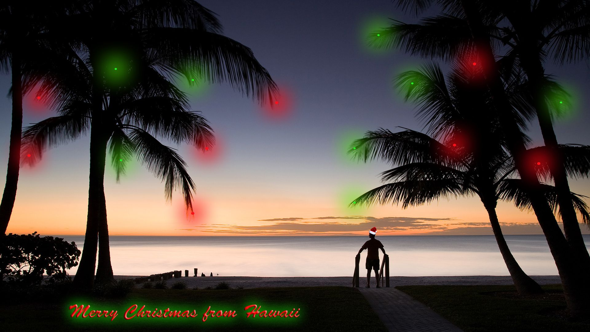 Merry Christmas From Hawaii Beach Sunset Wallpaper Sunset Wallpaper Beach Silhouette