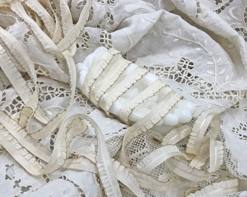 Vintage French Ivory Tinsel Ribbon Trim Silk Rayon Etsy In 2020 French Vintage Ribbon Trim Vintage Ribbon