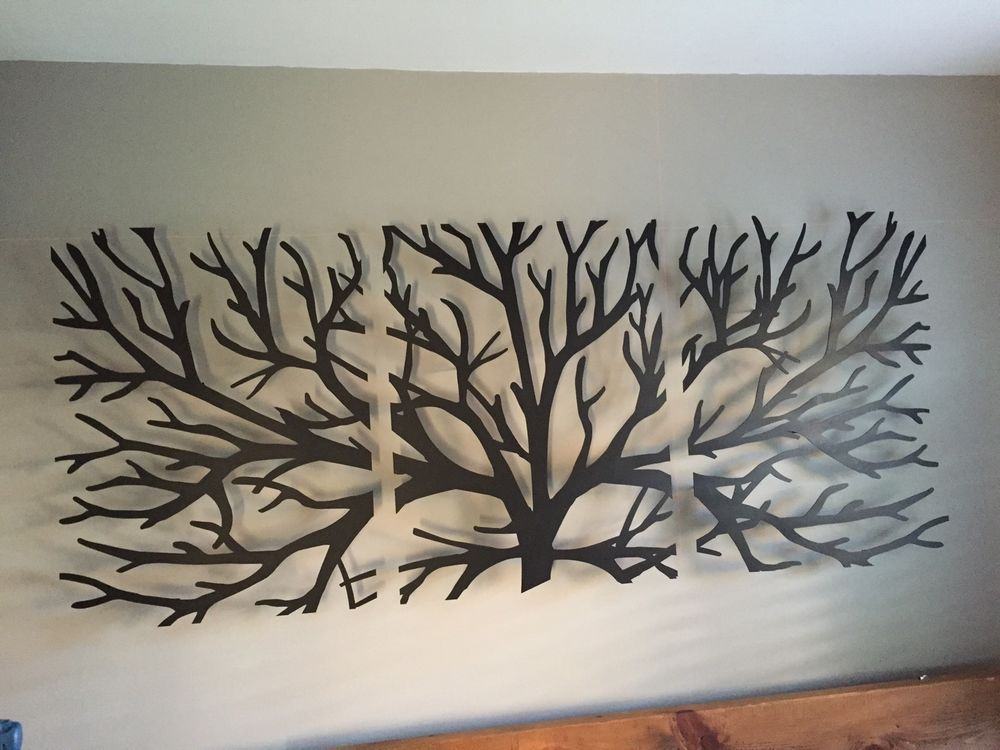 Metal Wall Art Decor 3D Sculpture 3 Piece Tree Brunch modern vintage ...