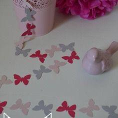 Guirlande papillons papier carton rose poudré gris rose fuchsia ...