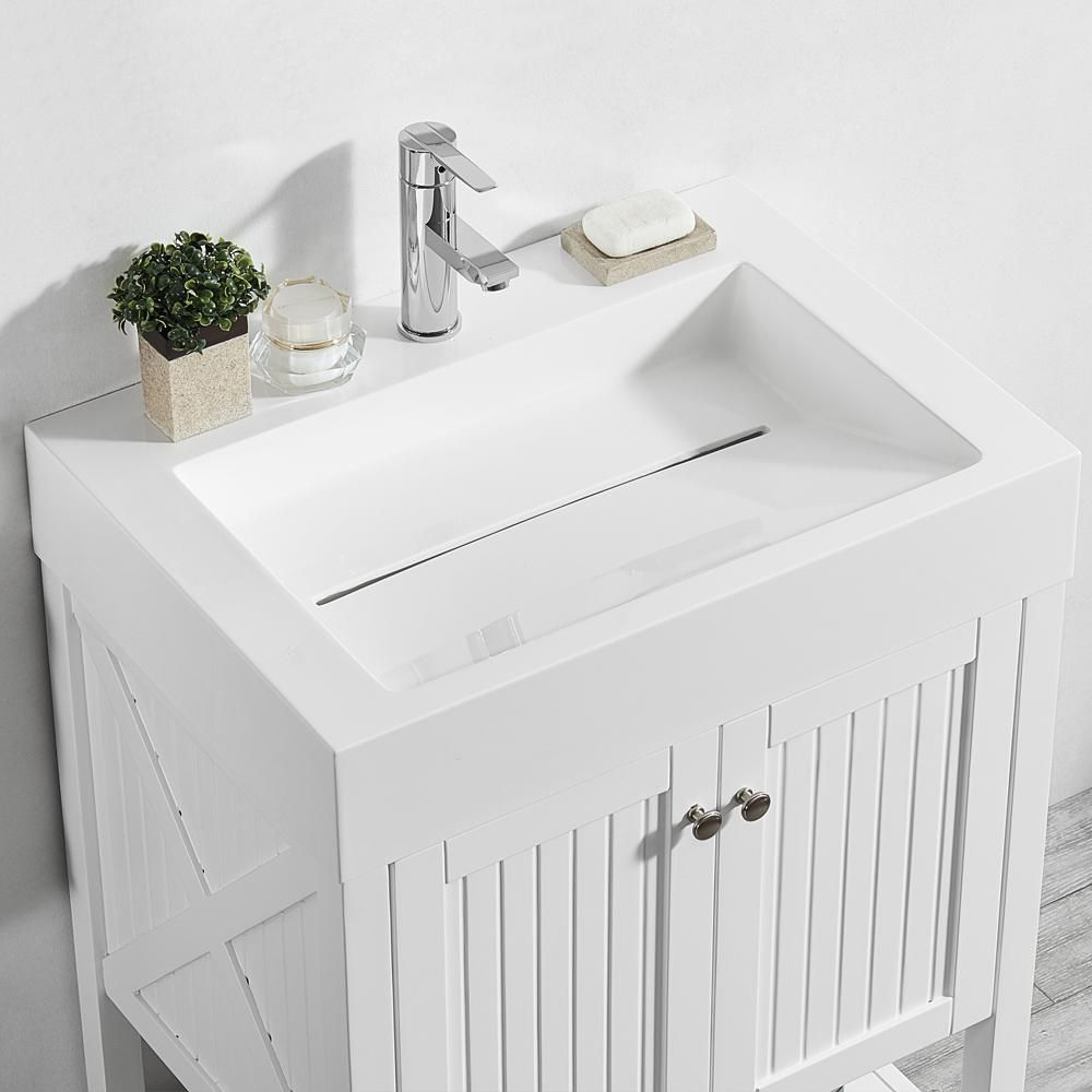 Roswell Pavia 28 In W X 20 In D Vanity In White With Acrylic