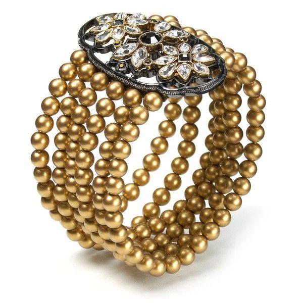 Carolee LUX Modern Meets Vintage Cast Stretch Bracelet ($67) ❤ liked on Polyvore