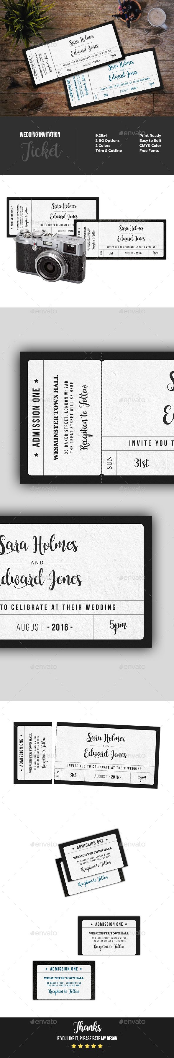 Wedding Invitation Ticket | Template, Psd templates and Graphic ...