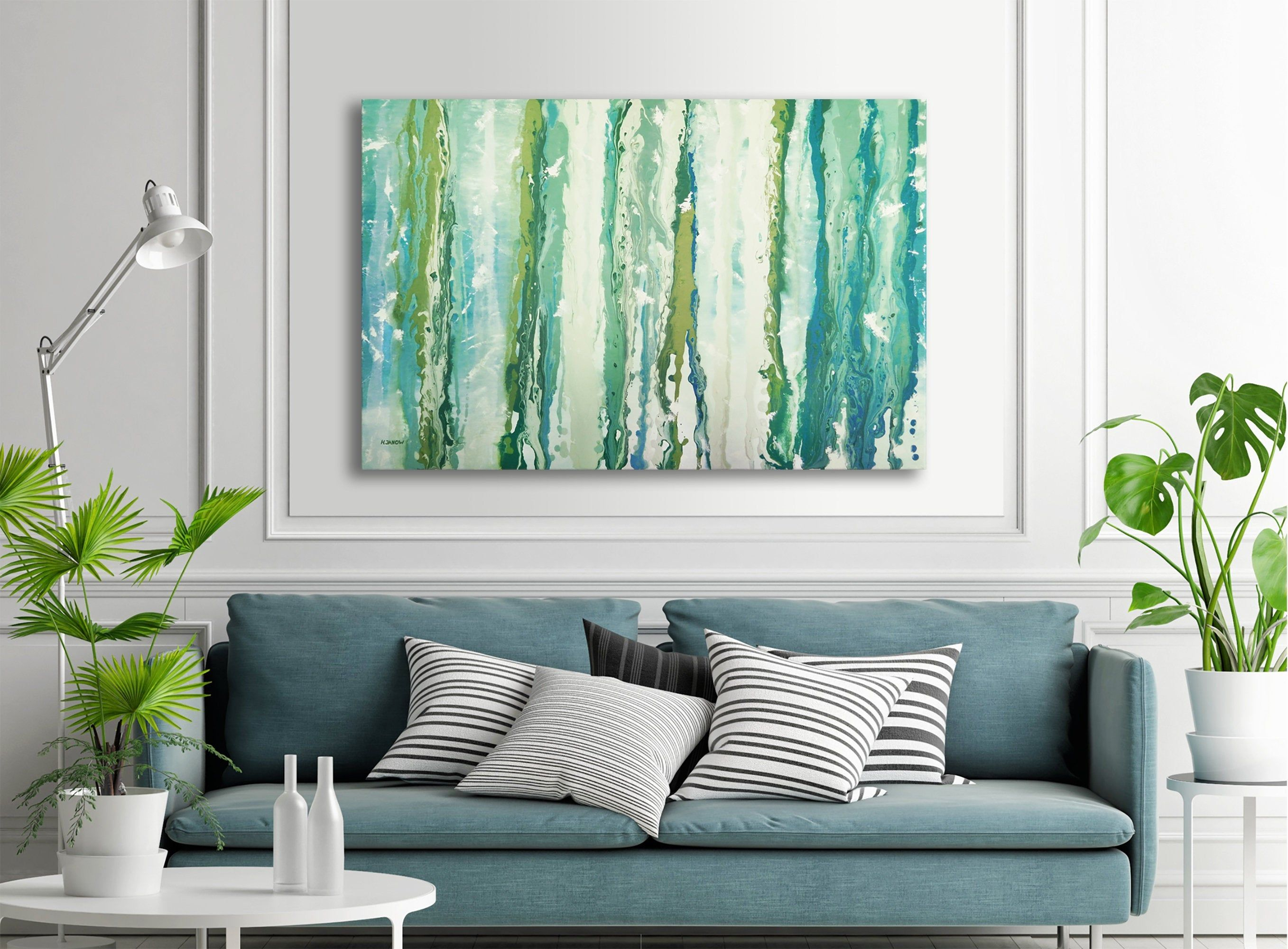 Turquoise Wall Art Abstract Painting Acrylic Pour Art Large Etsy Turquoise Wall Art Teal Wall Art Modern Room Decor #teal #wall #art #for #living #room