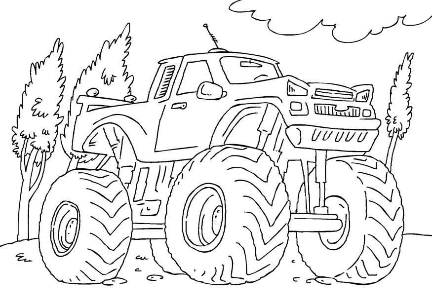 Free Printable Monster Truck Coloring Pages For Kids Monster Truck Coloring Pages Monster Truck Drawing Truck Coloring Pages