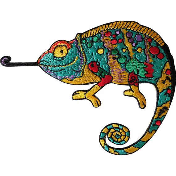 Chameleon lizard  embroidered applique iron-on patch