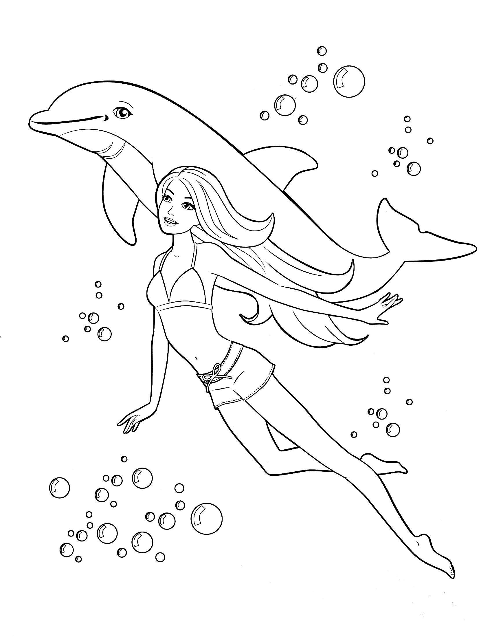 Free Printable Barbie Swimming With Dolphin Coloring Page For Kids Barbie Coloring Pages Dolphin Coloring Pages Princess Coloring Pages