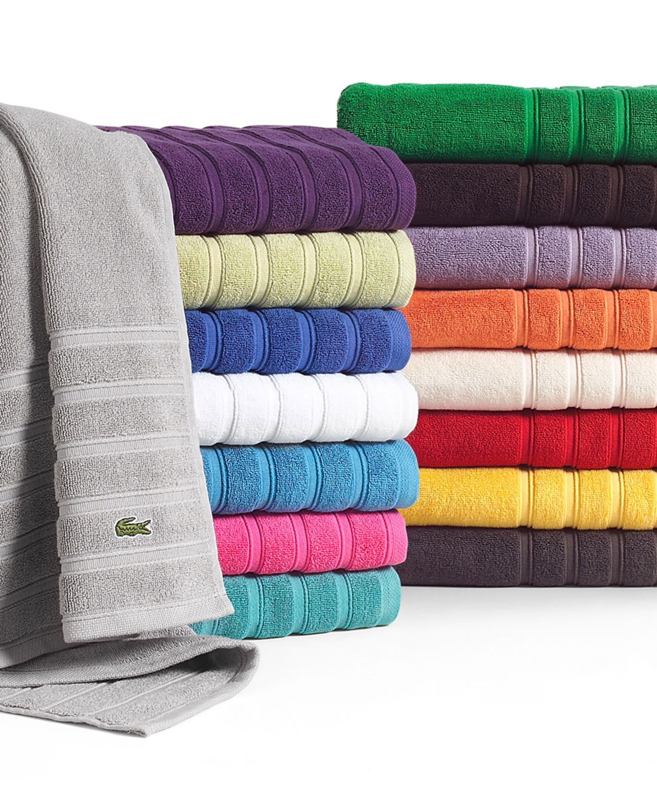 Lacoste Bath Towels Croc Solid Collection Bath Towels Bed