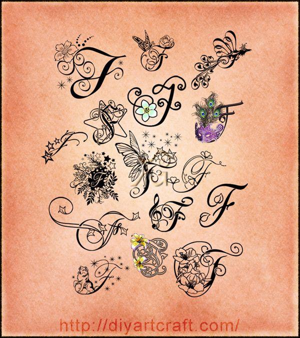 16 lettere f decorative e fantasiose nel poster for Idee tatuaggi lettere