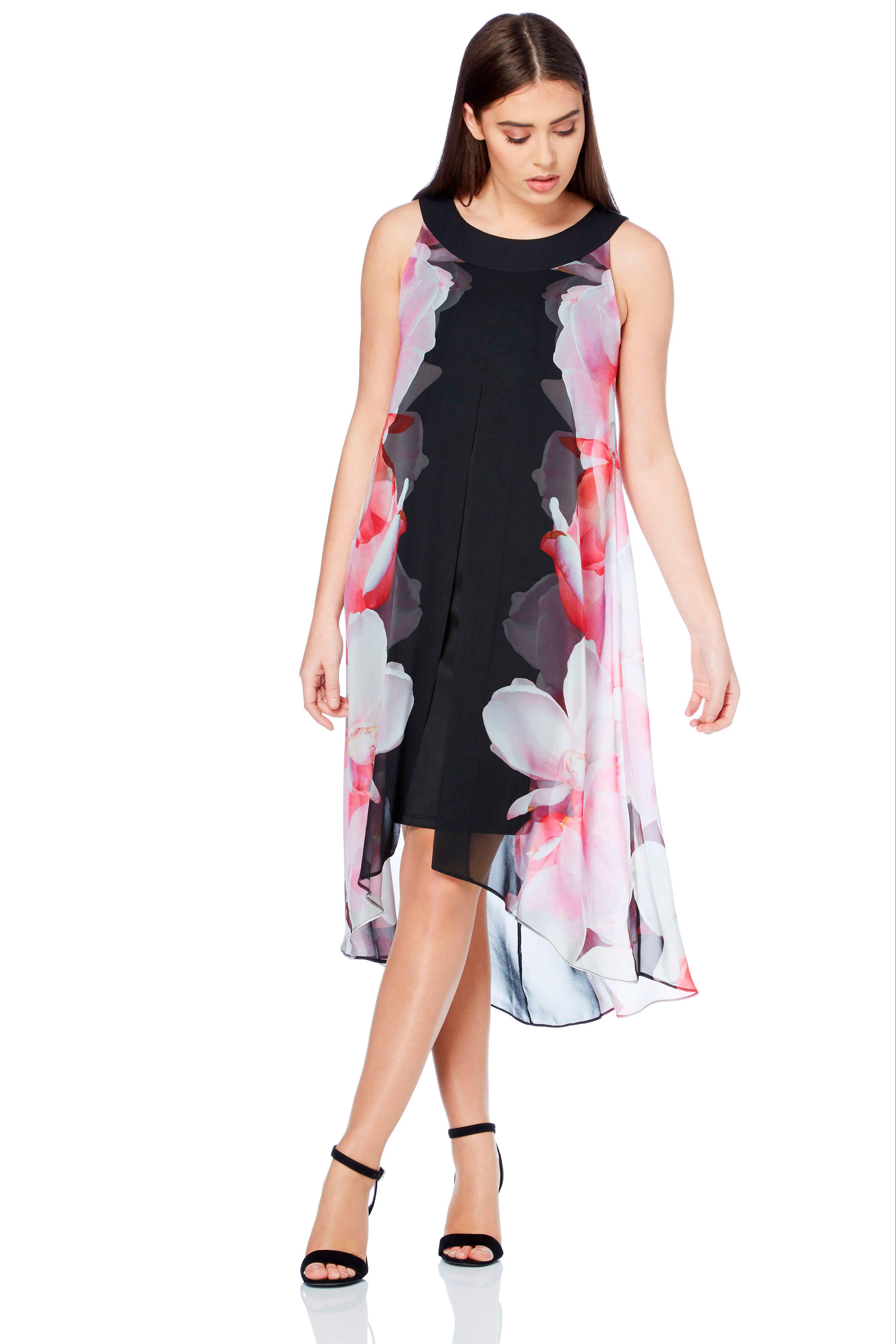 Floral Print Split Chiffon Dress in Pink Roman Originals