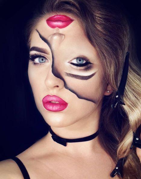 Amazing Split Face Halloween Makeup Idea Halloween Makeup