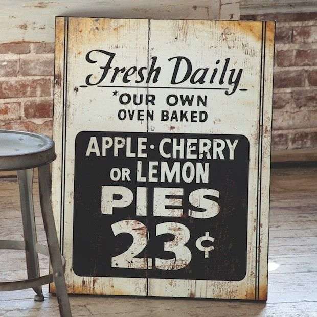 Fresh Pie Sign | Kitchen Wall Art | Kitchen Wall Decor | Kitchen Signs | Vintage Signs