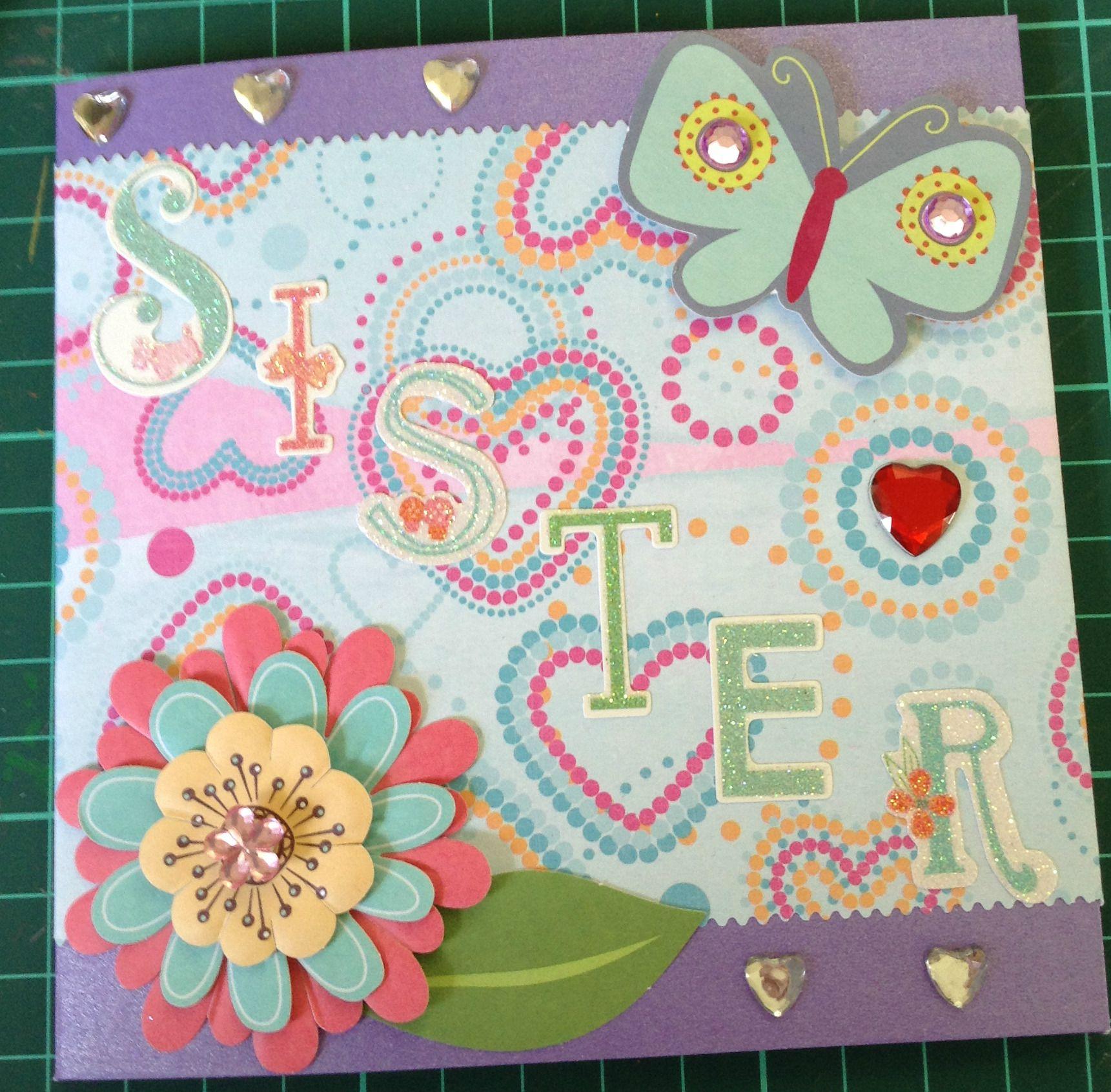 Sister Hand Made Birthday Card Hearts Flowers Birthday