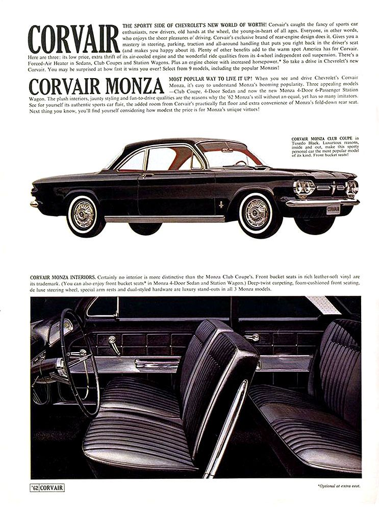 1962 Corvair Monza The Corvair Gets Sporty Classic Chevy Trucks Chevrolet Corvair Chevy Corvair