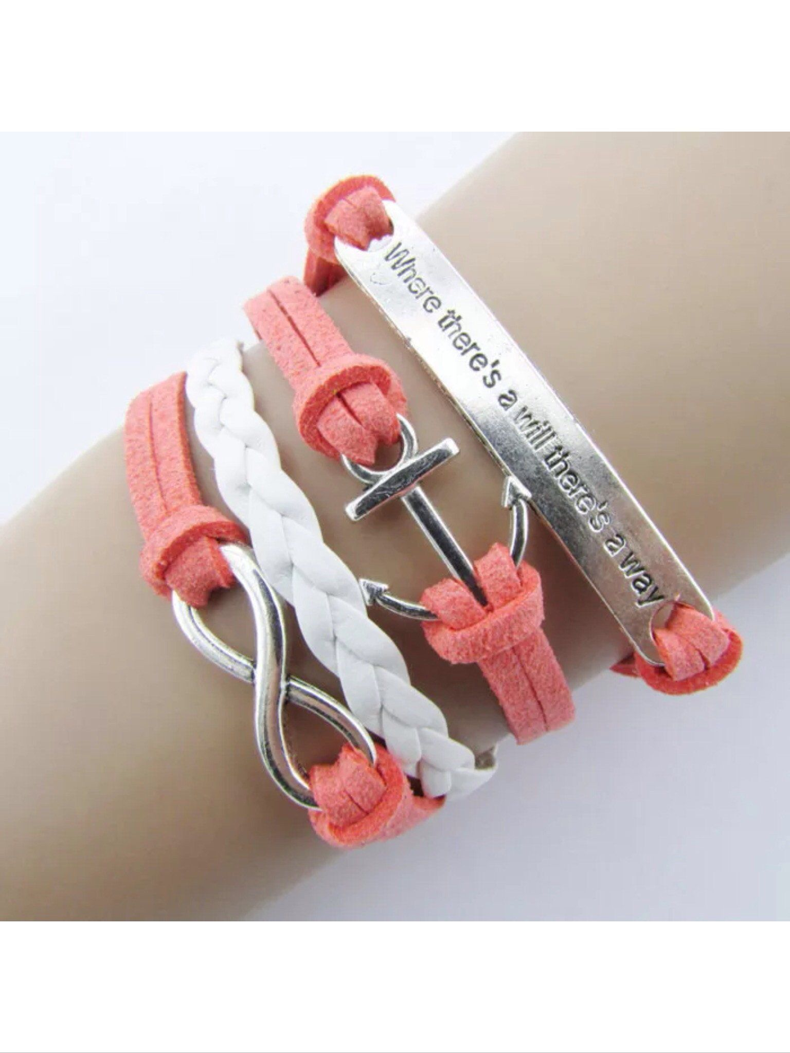 Where There S A Will There S A Way Nautical Leather Bracelet Handmade Bracelets Leather Charm Bracelets Ankle Bracelets