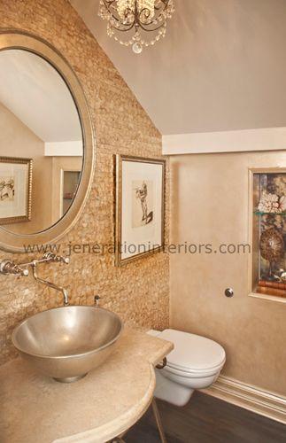 half bath, tile wall & wood floor