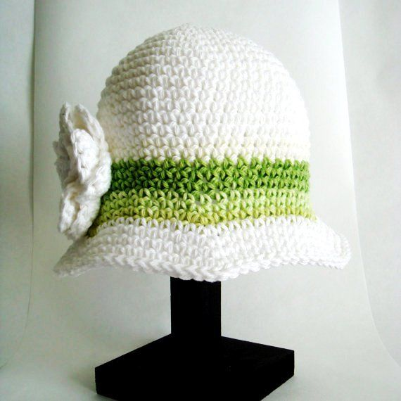 Toddler Girl Hat / Irish Rose Cloche / Crochet Green and White Girls Flower Hat Size 12-24 Months / St. Patricks Day Photo Prop