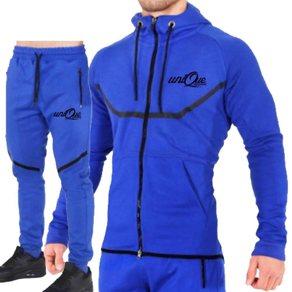 b73ca27774d Mens Designer Tracksuit Skinny Slim Fit Joggers Pants Bottoms   Zip Hoody
