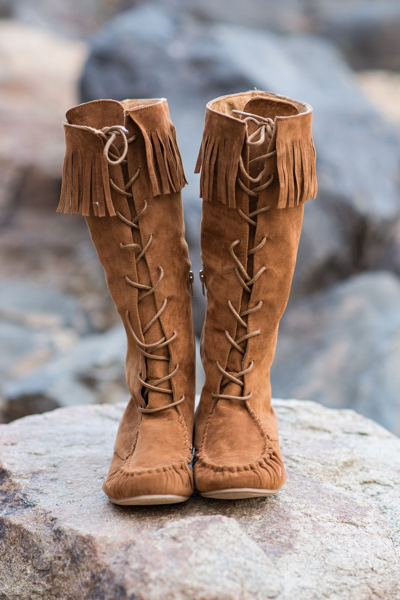 Minnetonka suede leather knee high tall lace up moccasin fringe boots - Bohemian Queen Lace Up Moccasin Boots