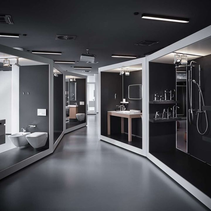 Amazing modularity design hand in hand aquamart for Bathroom showrooms