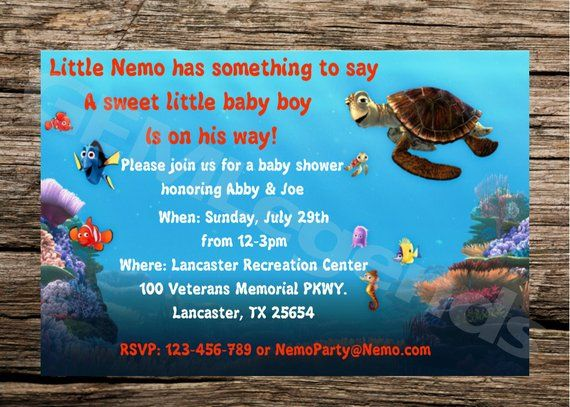 Finding Nemo Baby Shower Invitation Finding Nemo Baby Shower