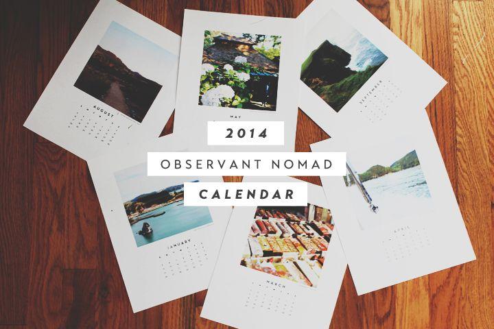 2014 Calendar {Observant Nomad}