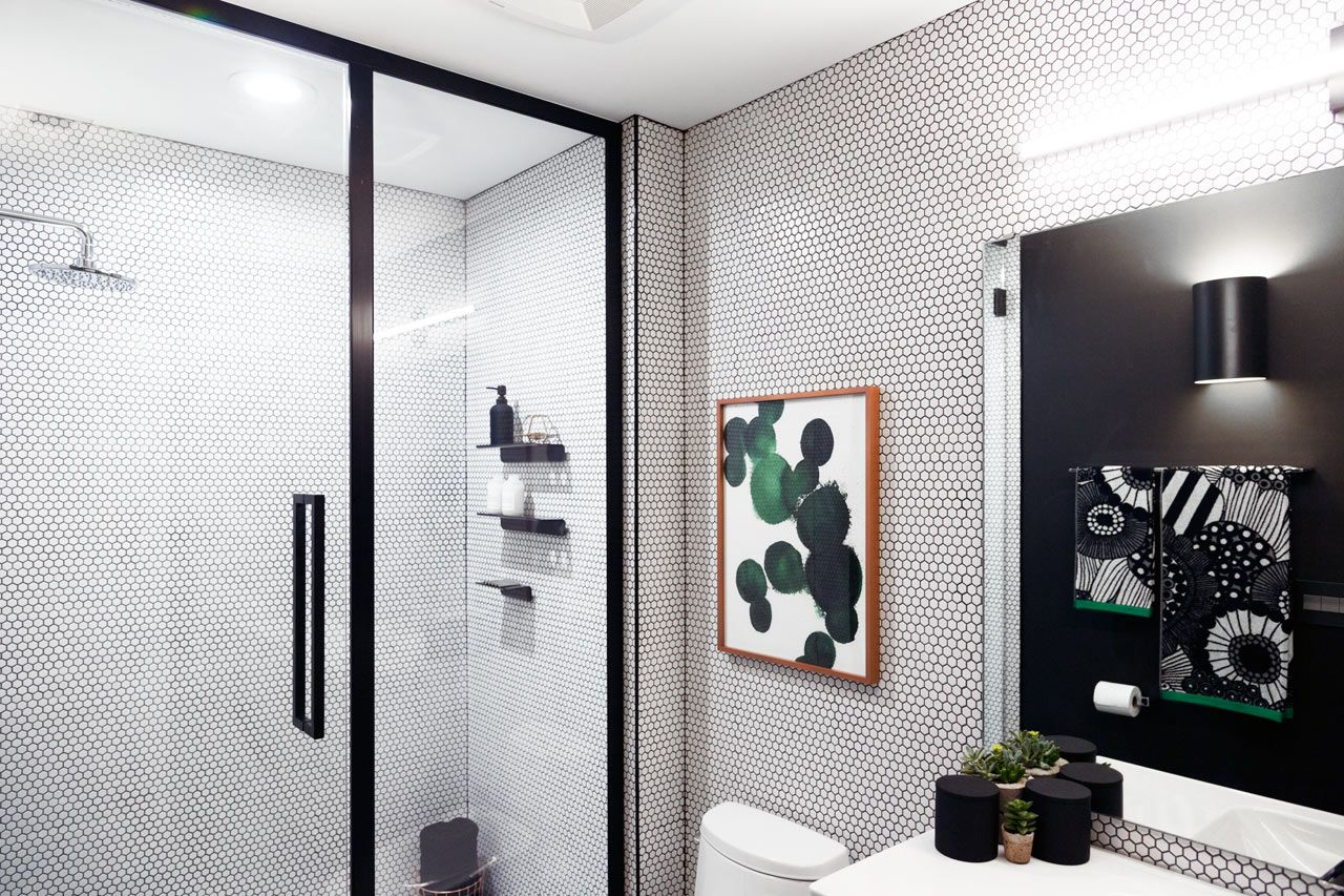 basic bathroom gets a graphic modern renovation design milk - Basic Bathroom Designs