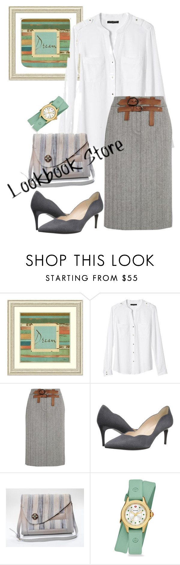 """""""skirt"""" by masayuki4499 ❤ liked on Polyvore featuring Amanti Art, Banana Republic, Tom Ford, Sesto Meucci, Porsche and Michele"""