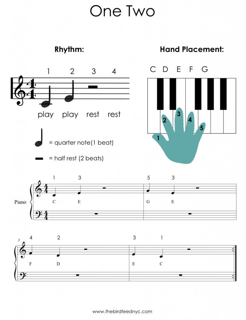 one two piano activity sheet for kids - Fun Kids Sheets
