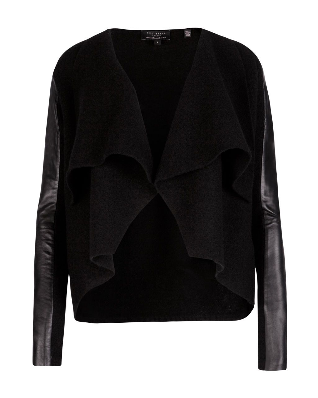 Leather trim wrap - Black | Knitwear | Ted Baker UK - sheer panel ...