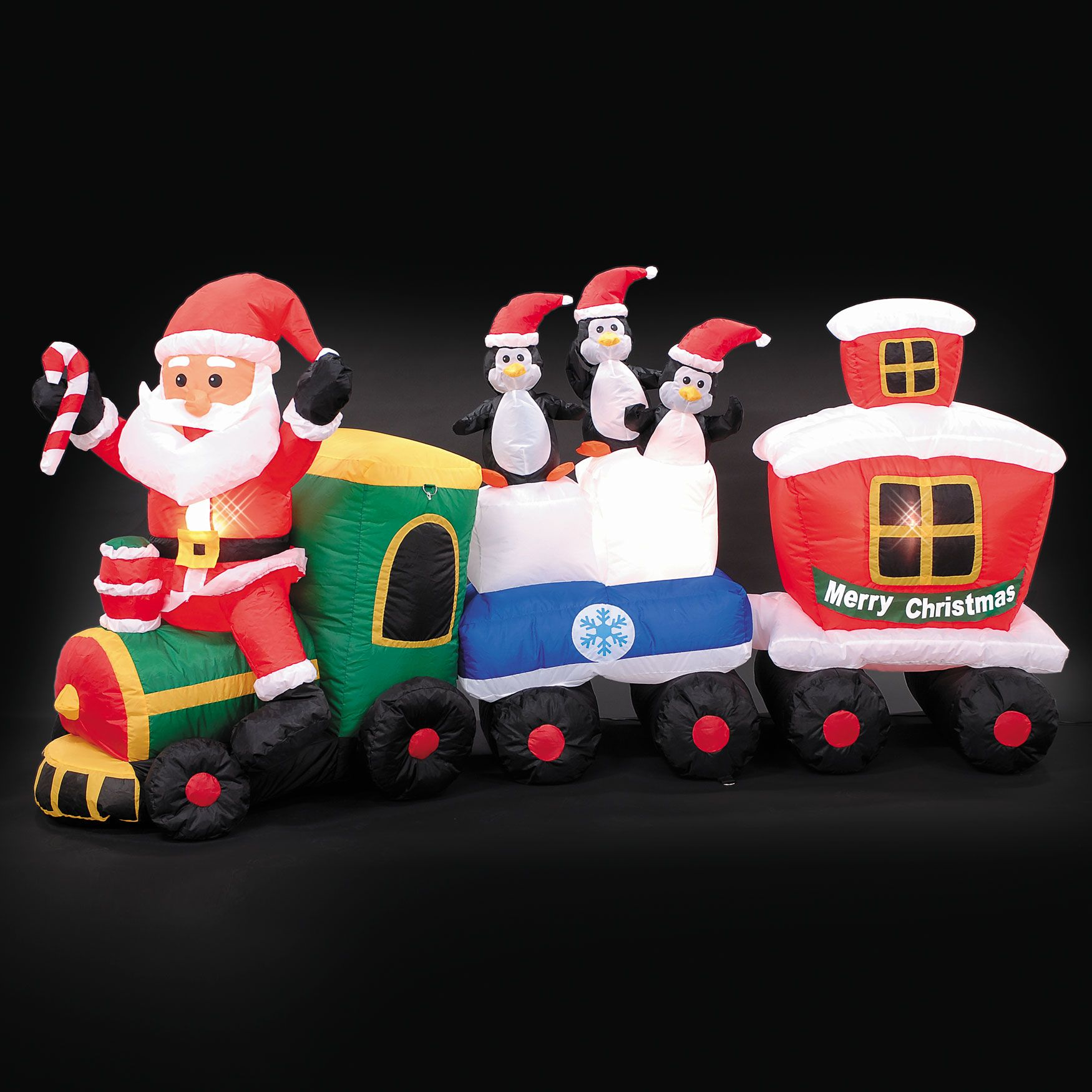 82 inflatable santa train outdoor christmas decor brylanehome