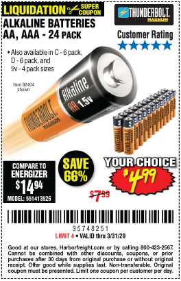Thunderbolt Alkaline Batteries For 4 99 Alkaline Battery Harbor Freight Tools Energizer