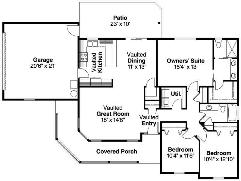 Country Farmhouse Home With 3 Bdrms 1506 Sq Ft Floor Plan 108 1002 House Plans One Story Ranch House Plans House Plans