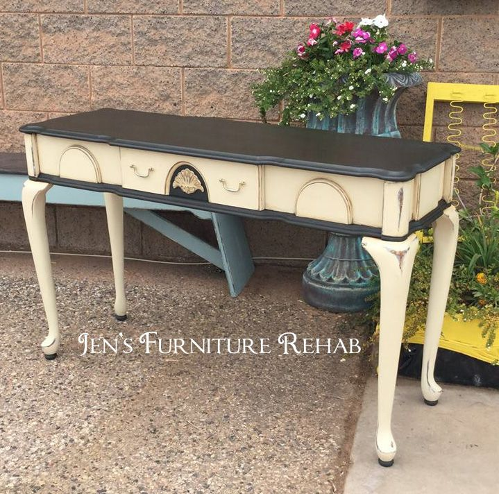 Sofa Table Painted In Graphite And Old Ochre Chalk Paint With Distress And Dark Wax Antiquing Furniture Rehab Painted Table Chalk Paint Furniture