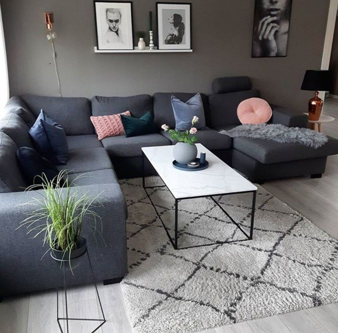 grey and peach living room