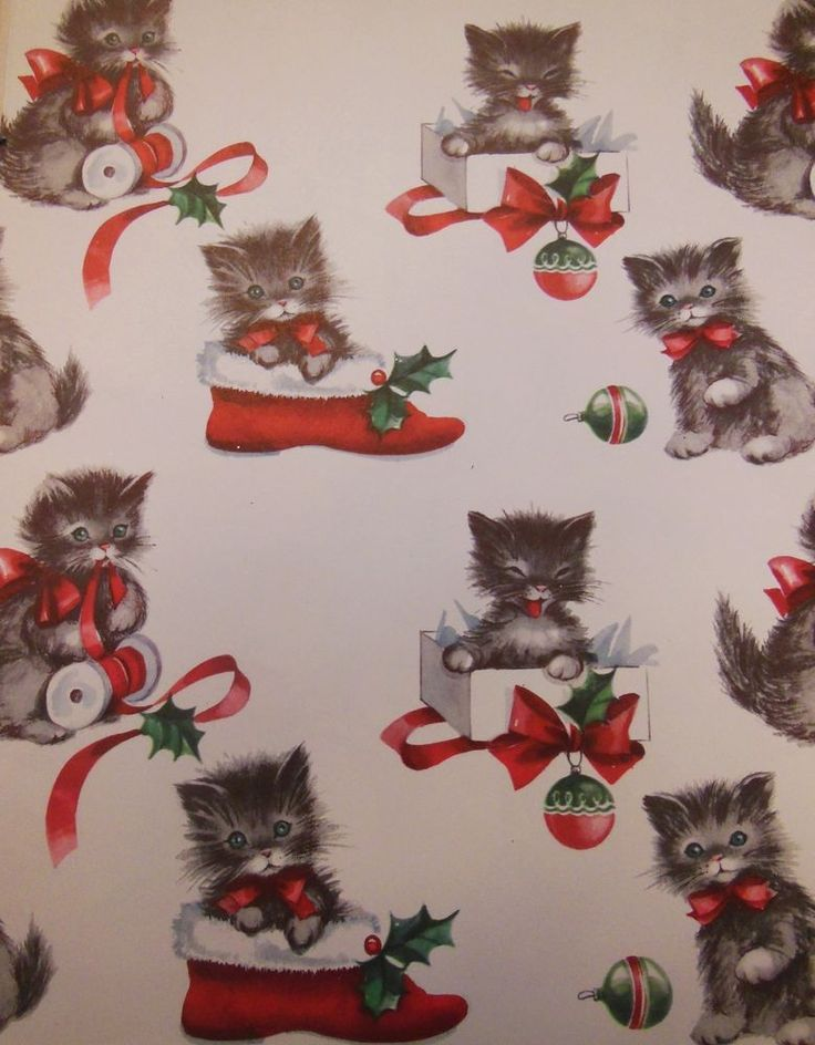 christmas kittens in shoes vintage gitt wrap - How To Wrap A Cat For Christmas