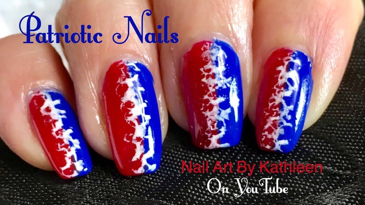 Easy Patriotic Nail Art Red White And Blue Nails Youtube