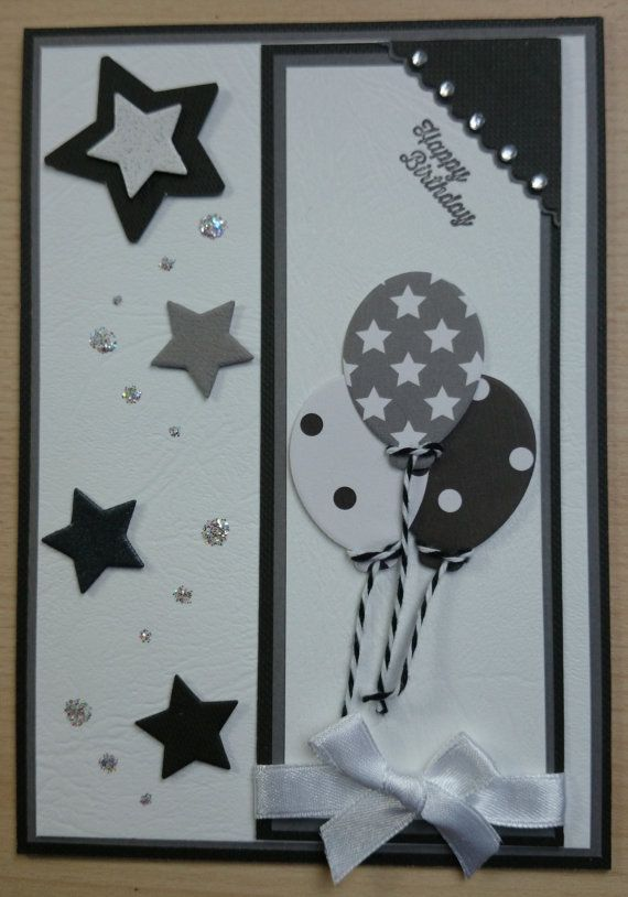 Unique Handmade Monochrome Masculine Birthday Card With Balloons And Stars