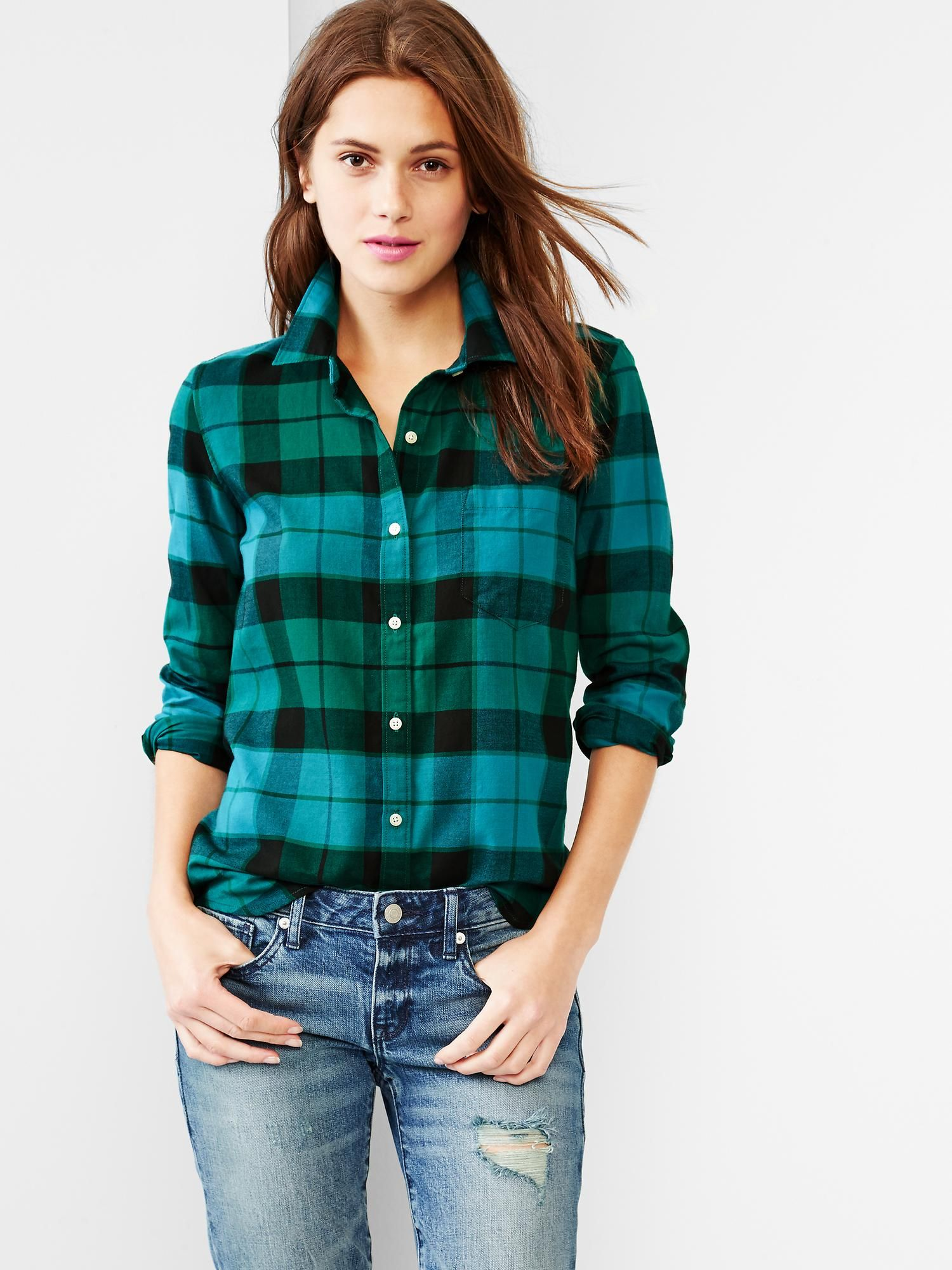 Fitted boyfriend plaid oxford shirt with images green